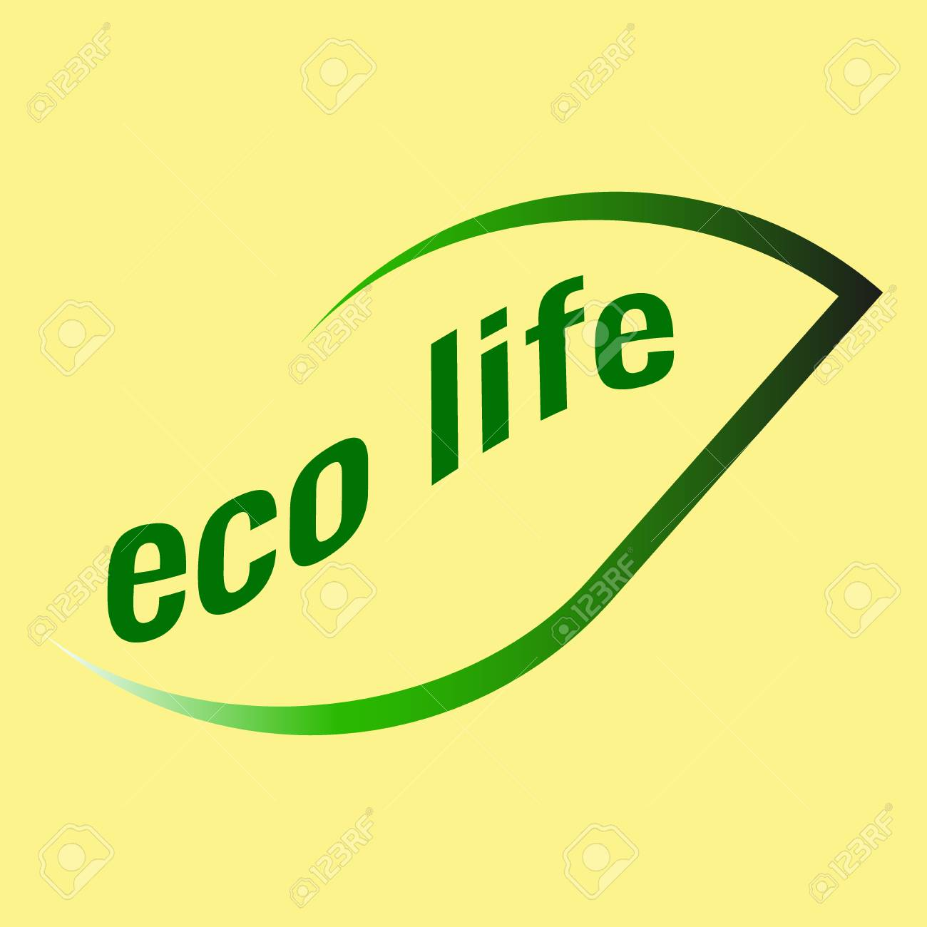 Logo of green leaves on a yellow background eco life - 83389117