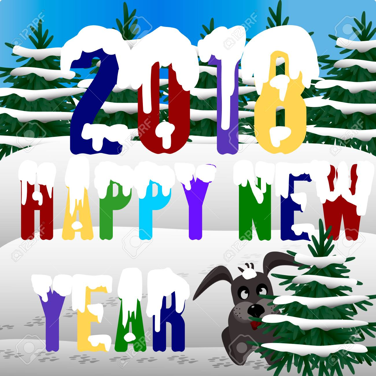 Happy New Year 2018 greeting card design template - 90676065