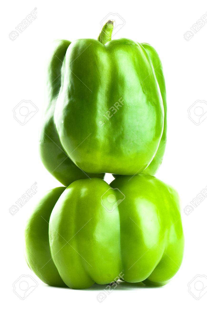 Stacked Green Bell Peppers - Isolated on White Stock Photo - 2986564