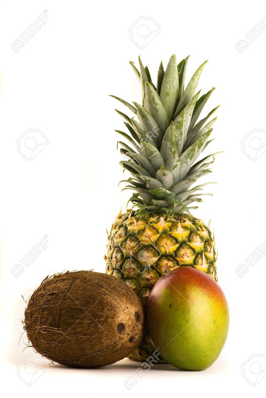 Tropical Trio - Pineapple, Mango and Coconut Isolated on White Stock Photo - 2986566