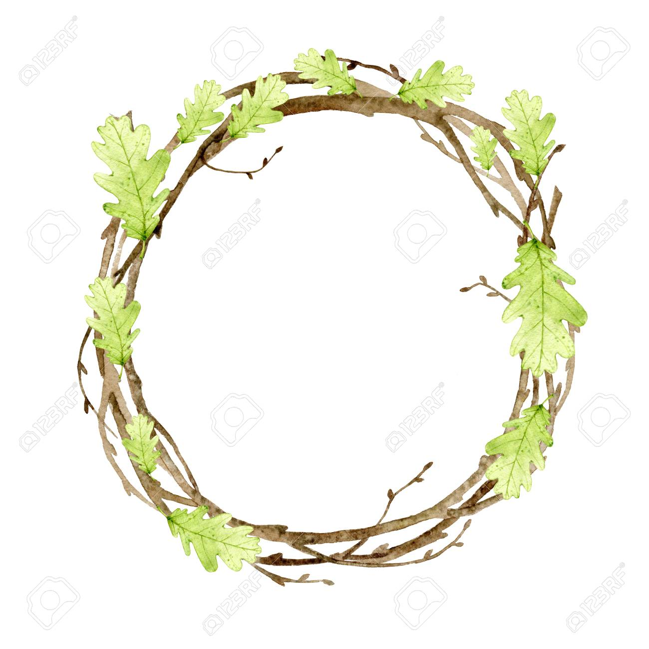 Watercolor Wreath With Spring Summer Leaves And Branches Frame