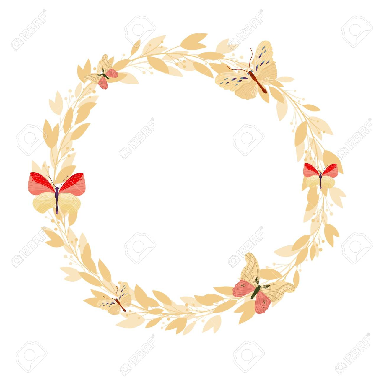 Vector floral frame on white background. Wreath with leaves and flowers. Bright colorful spring. - 138352715