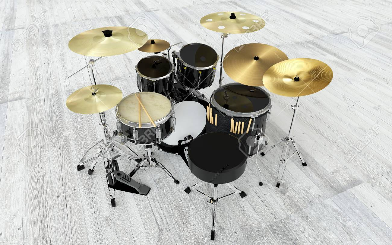 Modern Black Rock Drums Set Stock Photo Picture And Royalty Free