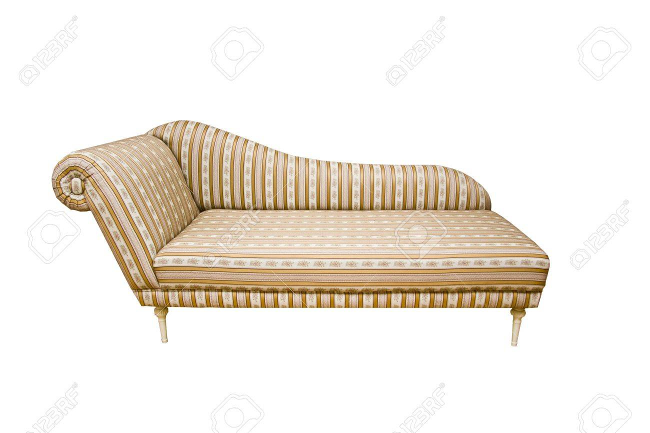 An Old Fashion Sofa With Stripes On White Background Stock Photo   14763281