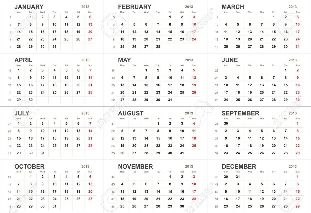 Solid 2013 Calendar Template Or Background Stock Photo Picture And