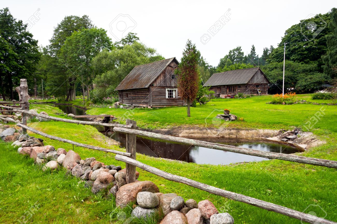 Farm Houses With Large Green Garden With Pond And Timber And.. Stock ...
