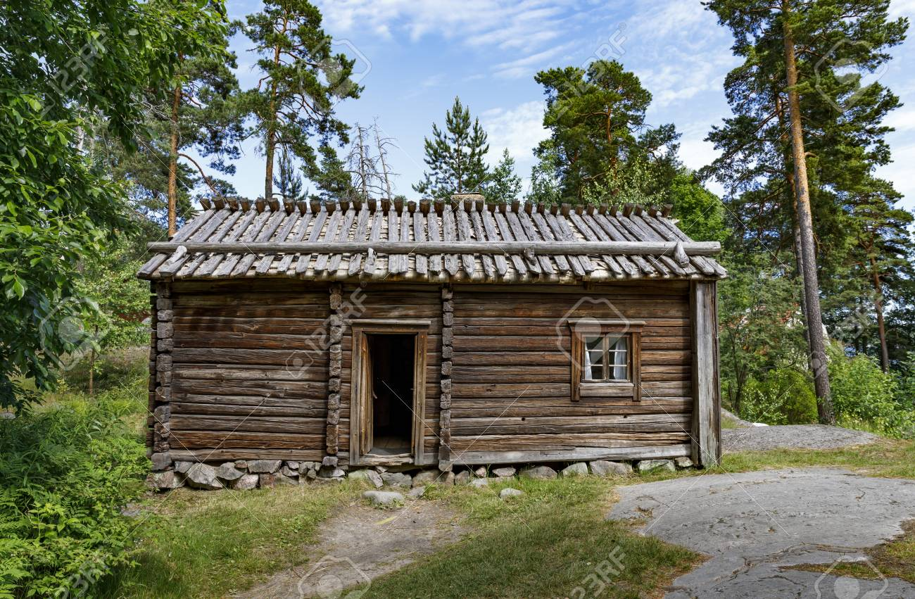 Exterior Of An Old Wood Made Farm House Or Log Cabin In Forest Stock Photo Picture And Royalty Free Image Image 81992951