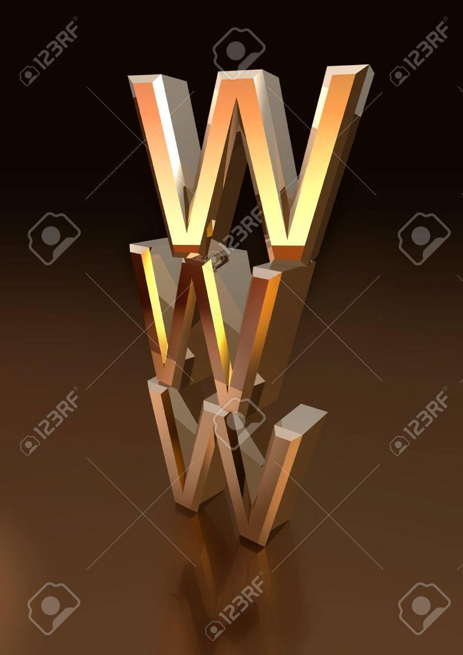 Pile of metallic WWW letters - 11696957