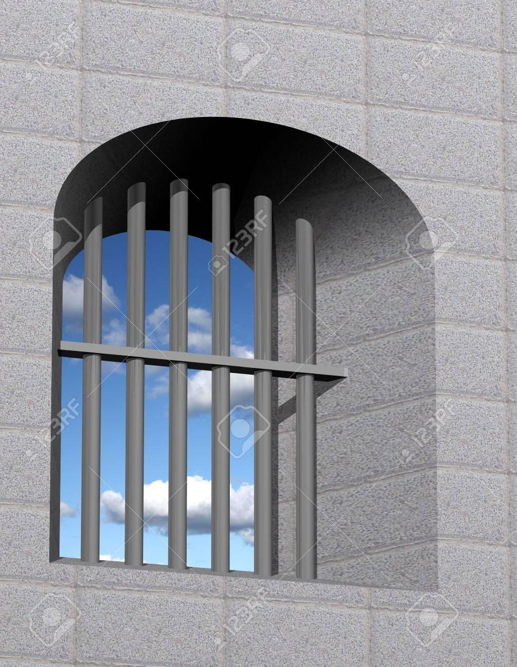 Jail window with bars - 11697123