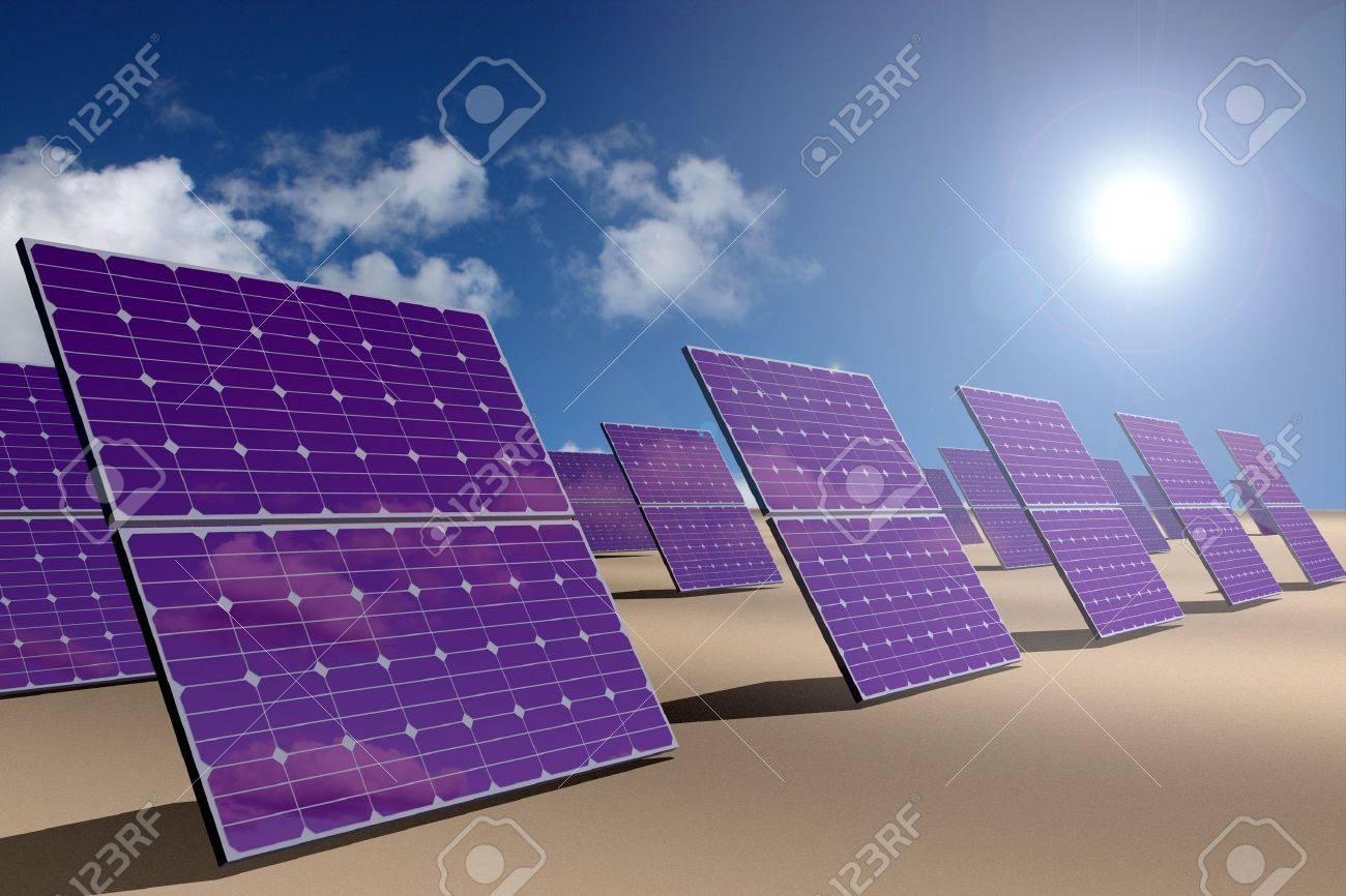 Solar energy panels in desert - 11697121