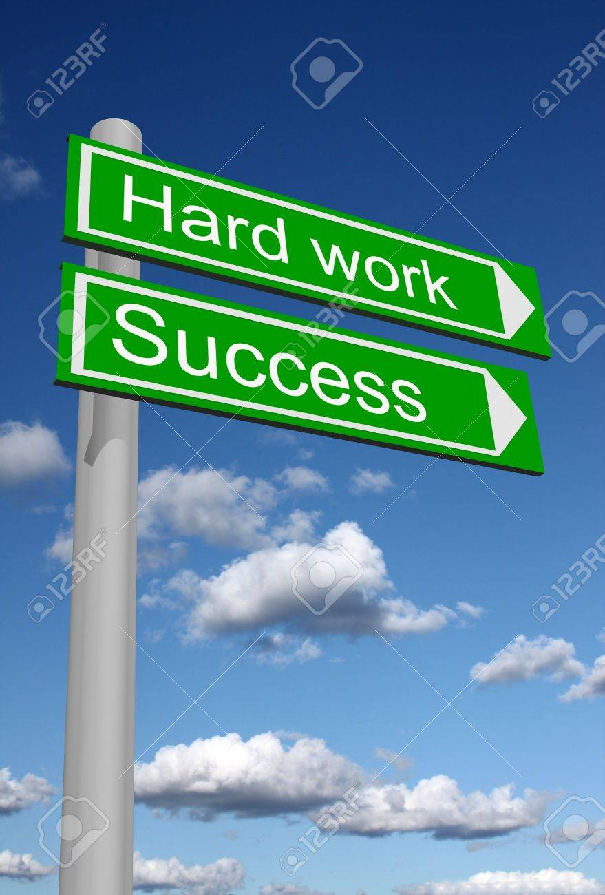 Signpost showing the way to success through hard work - 11697093