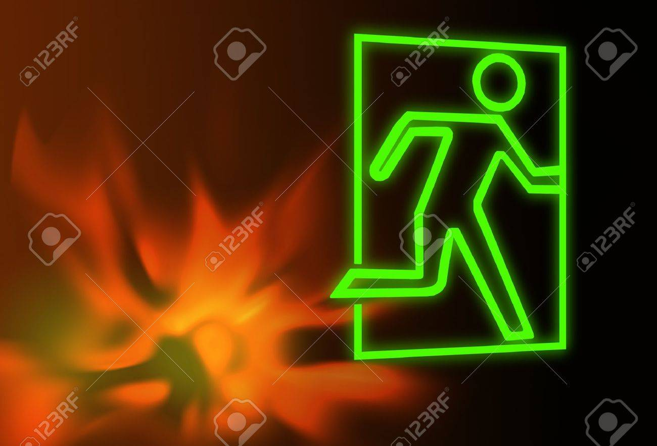 Emergency exit symbol with flames - 11696979