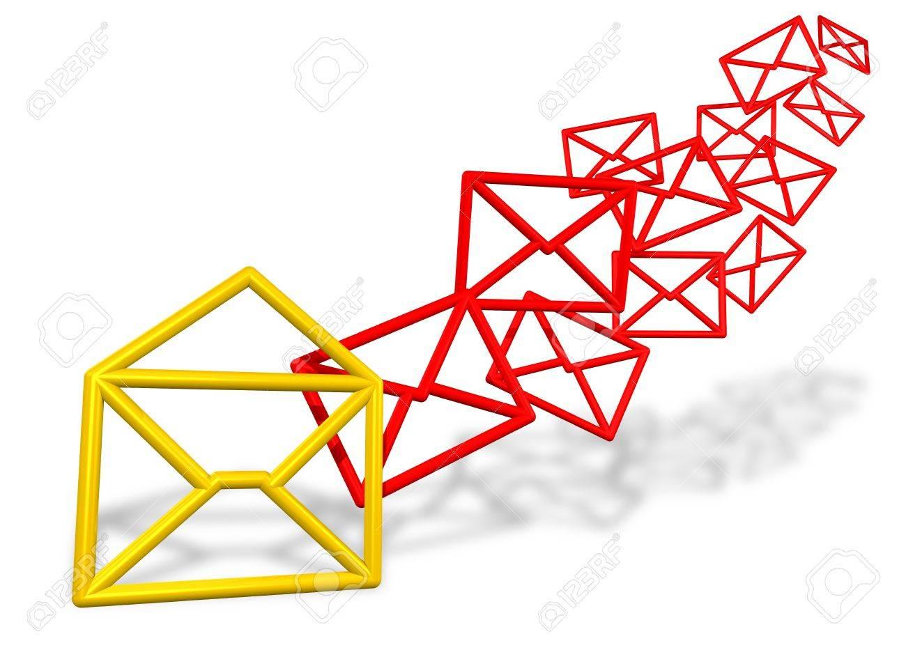 E-mail envelope symbols flowing Stock Photo - 11697055