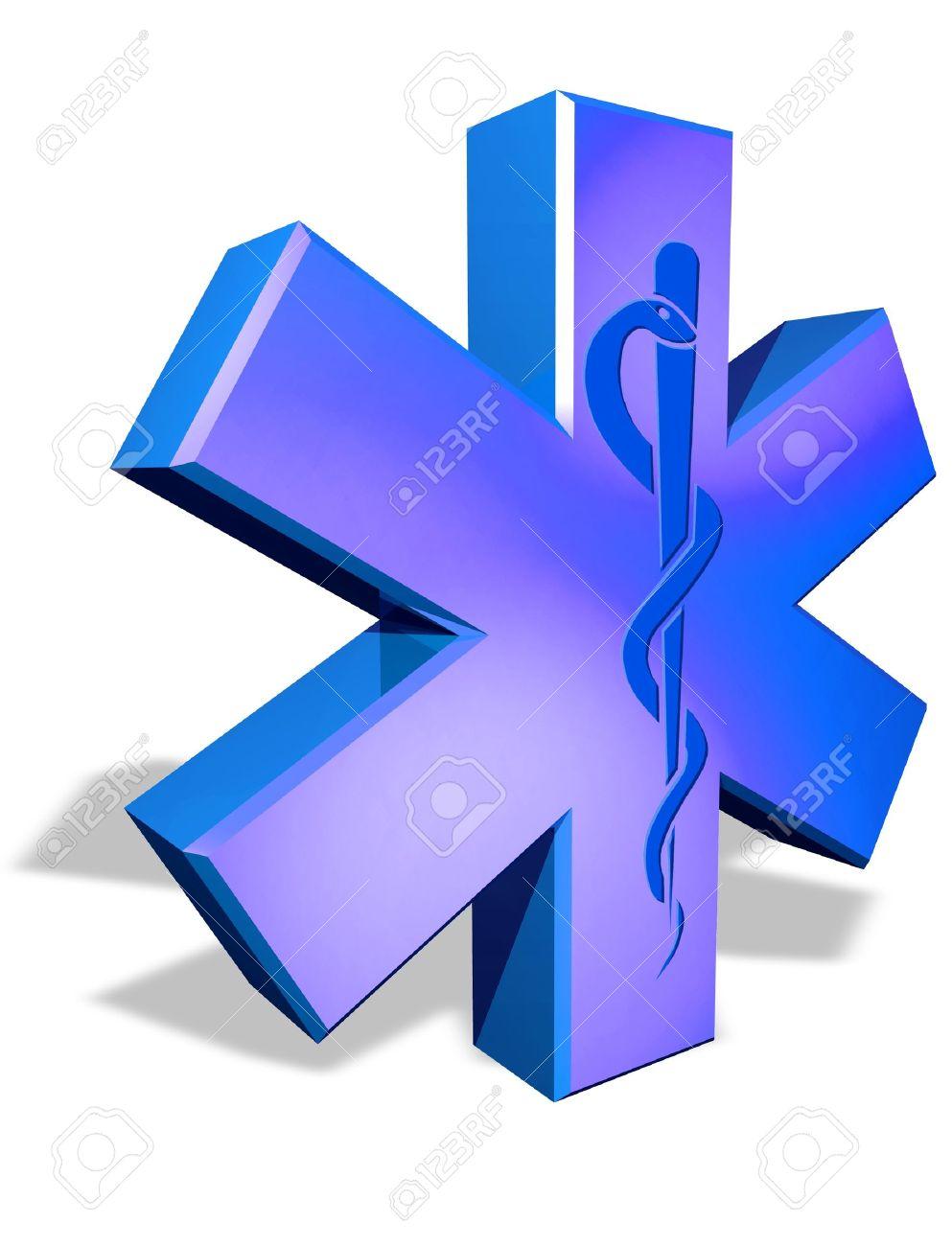 Medical cross symbol with Caduceus snake - 11697151