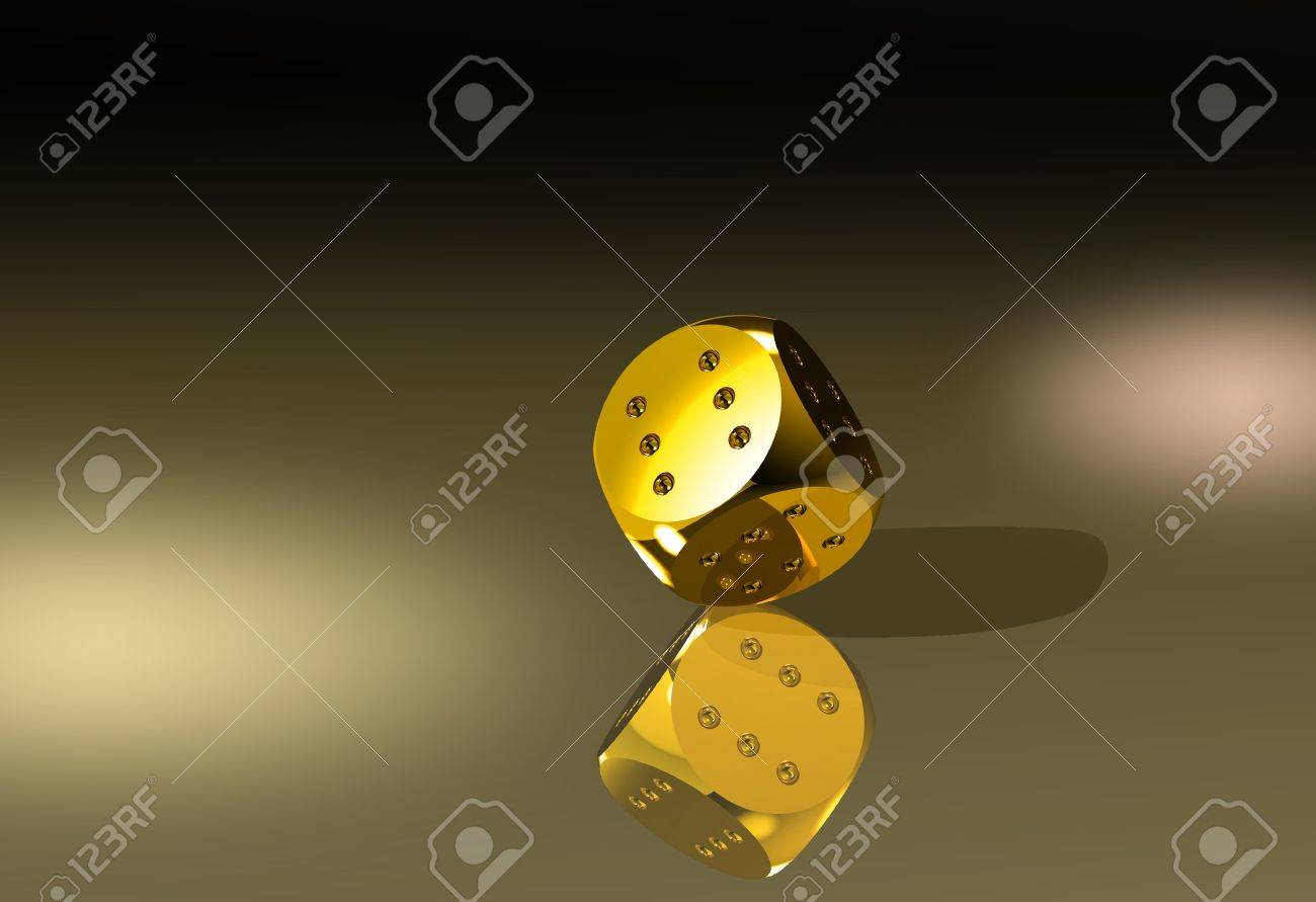 Golden dice with six dots every side - 11697147