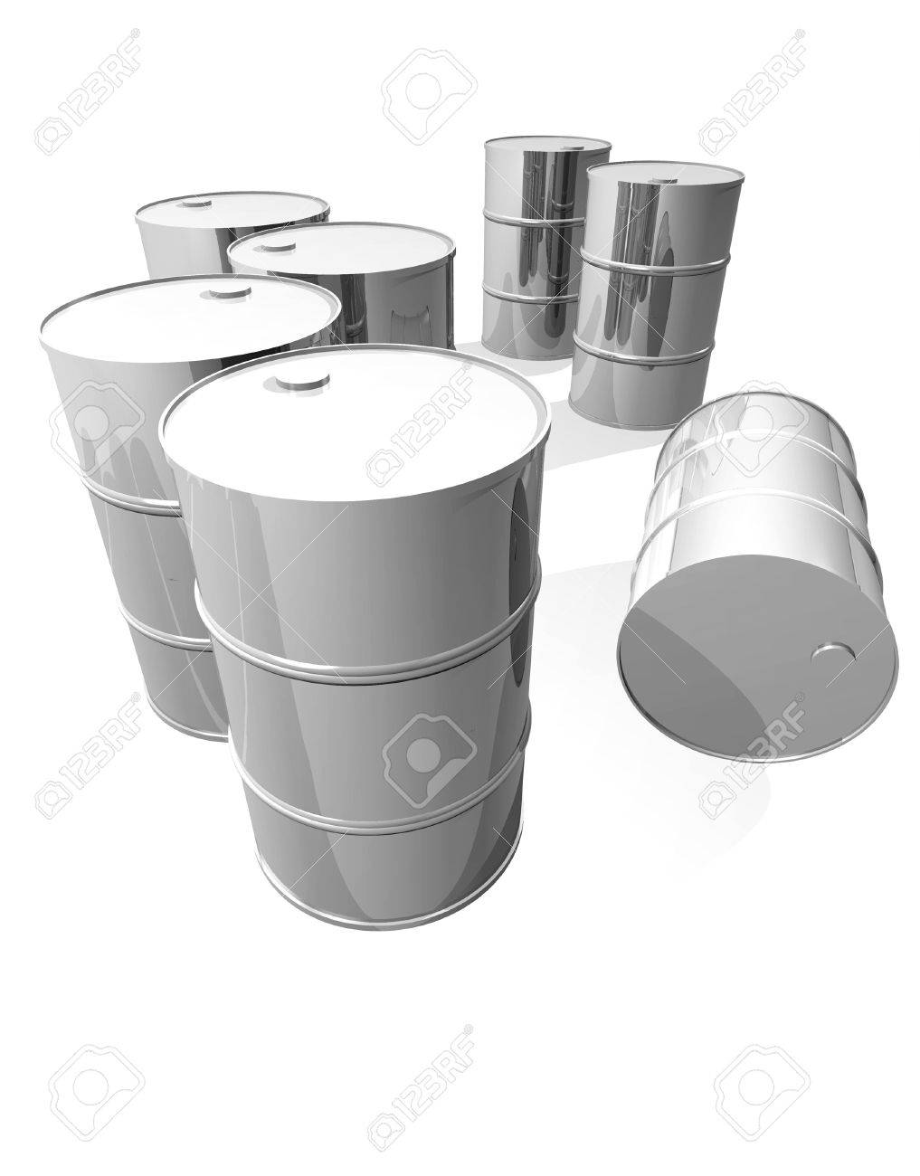 Clean metal drums isolated on white - 11697134
