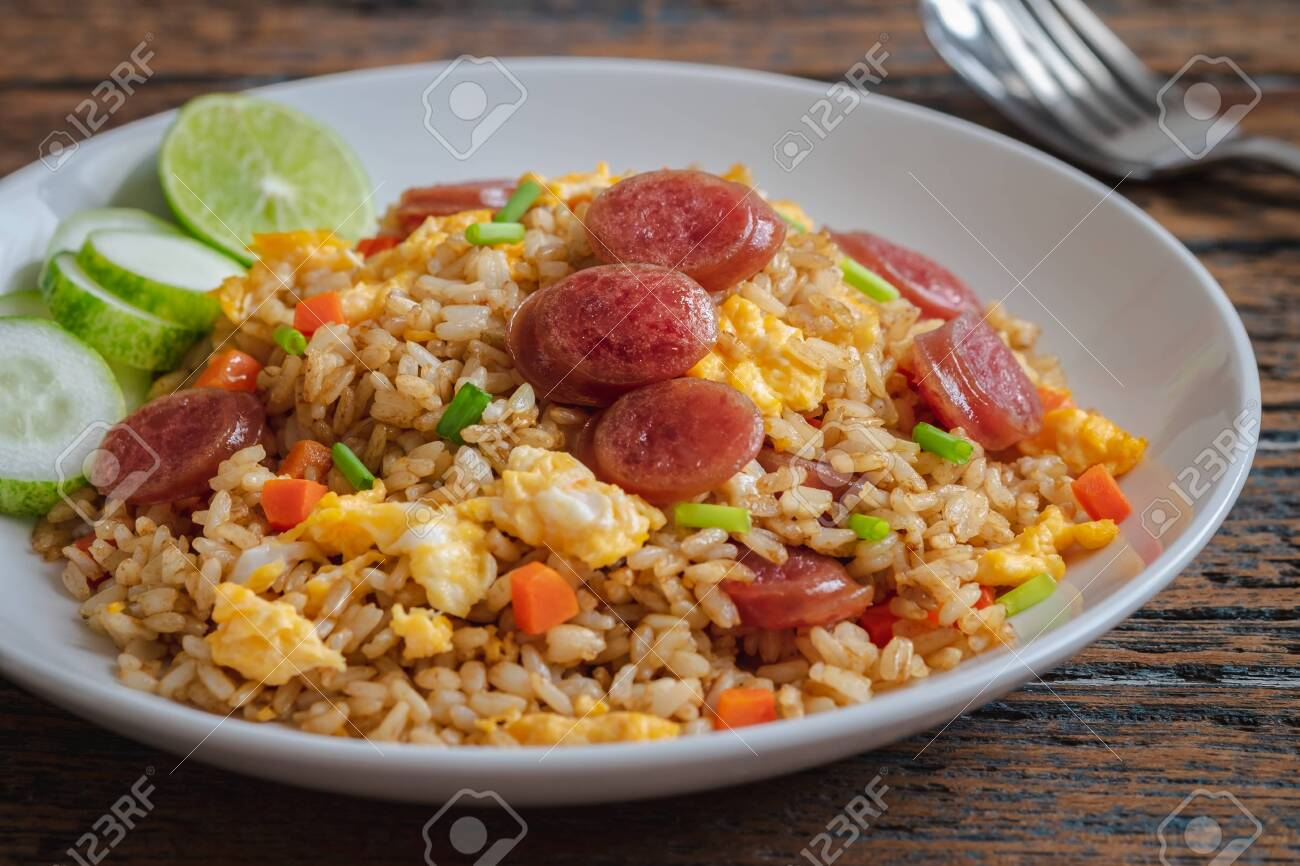 Fried rice with chinese sausage on plate - 147722966