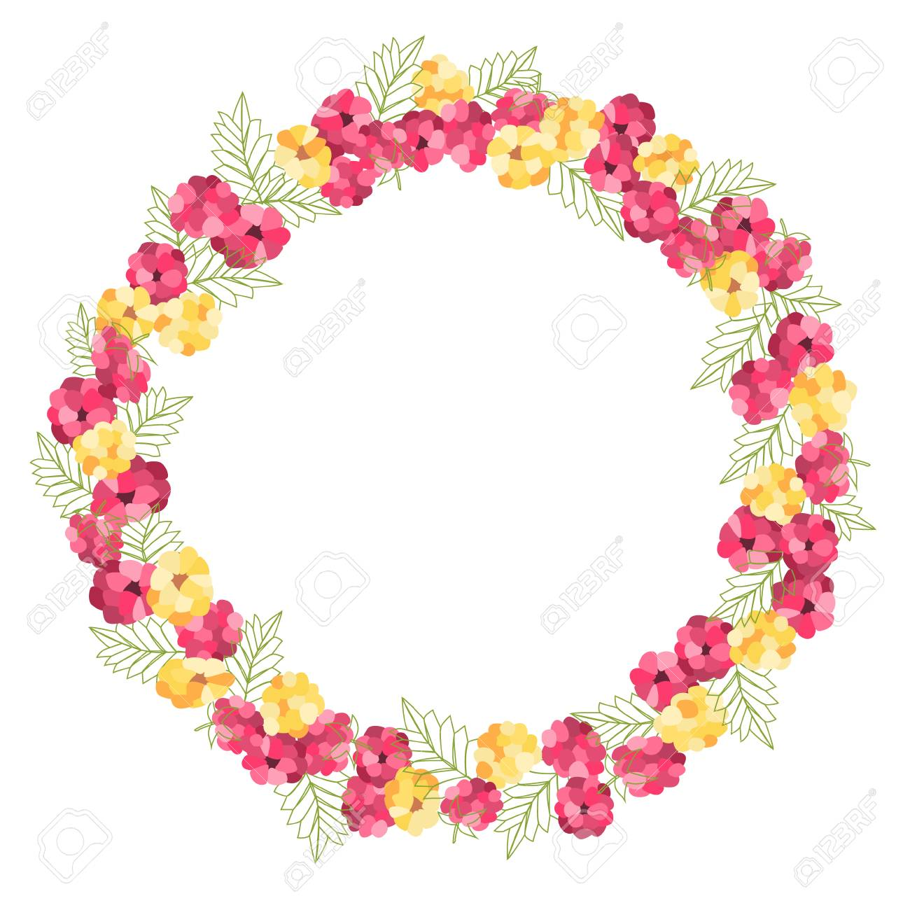 Wreath Of Stylized Raspberries For Thank You Card Greeting Card
