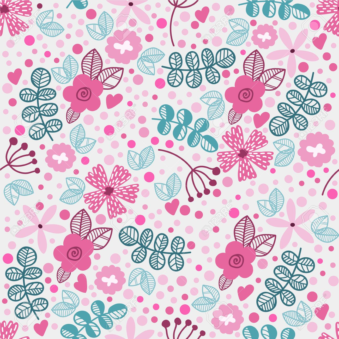 Vector Seamless Floral Pattern In Doodle Style Bright Pattern