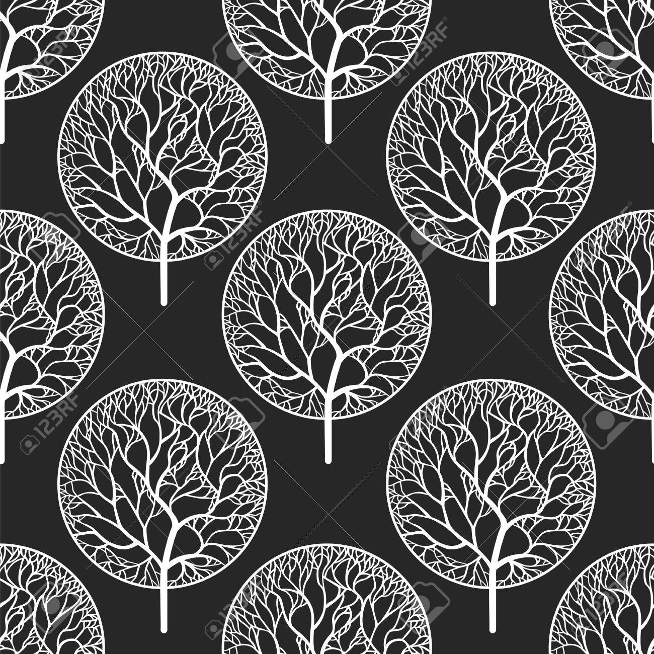 Seamless abstract vector pattern with white trees - 52138792