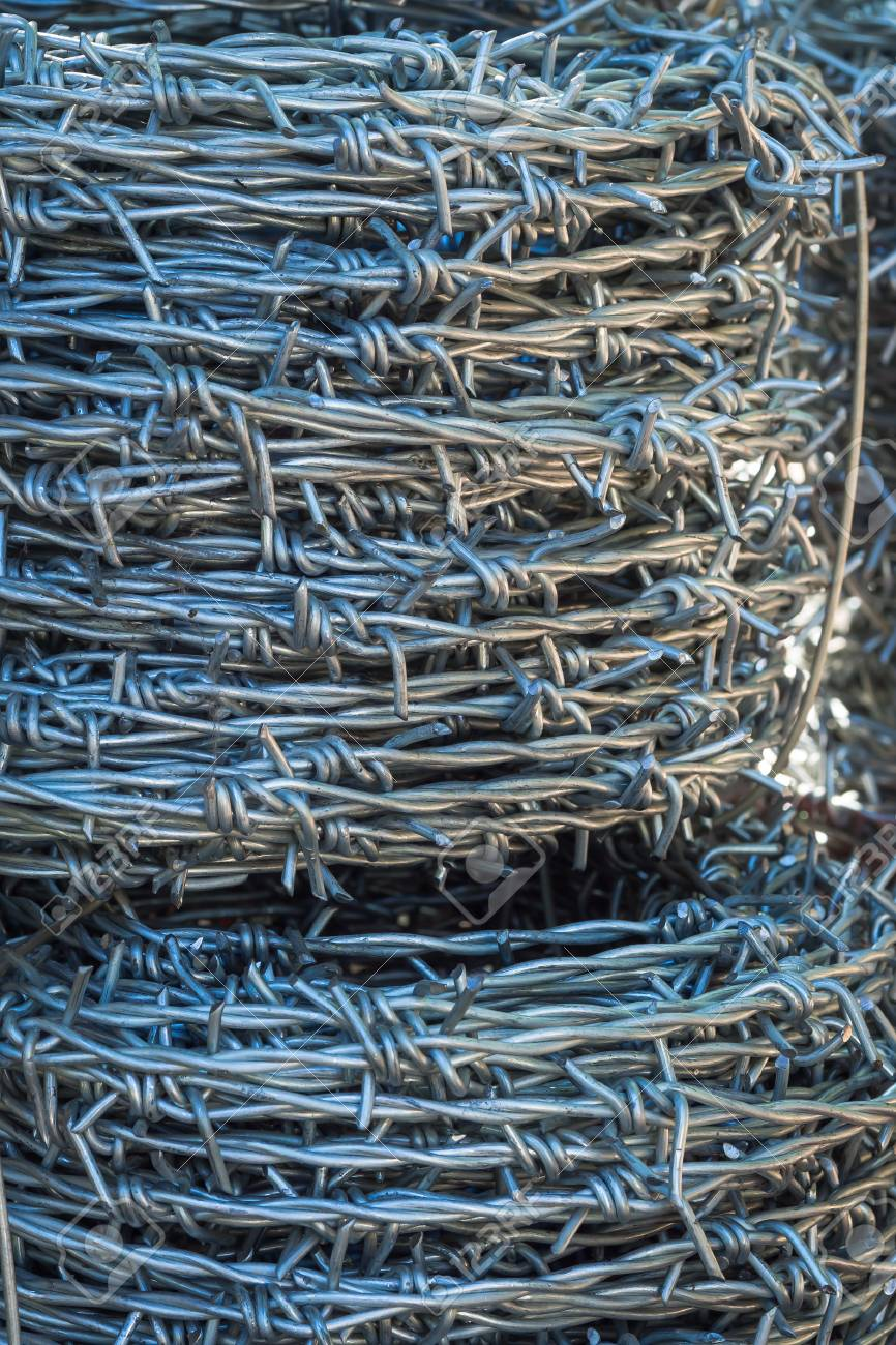Pattern And Texture From Roll Of Barb Wire Stock Photo, Picture And ...