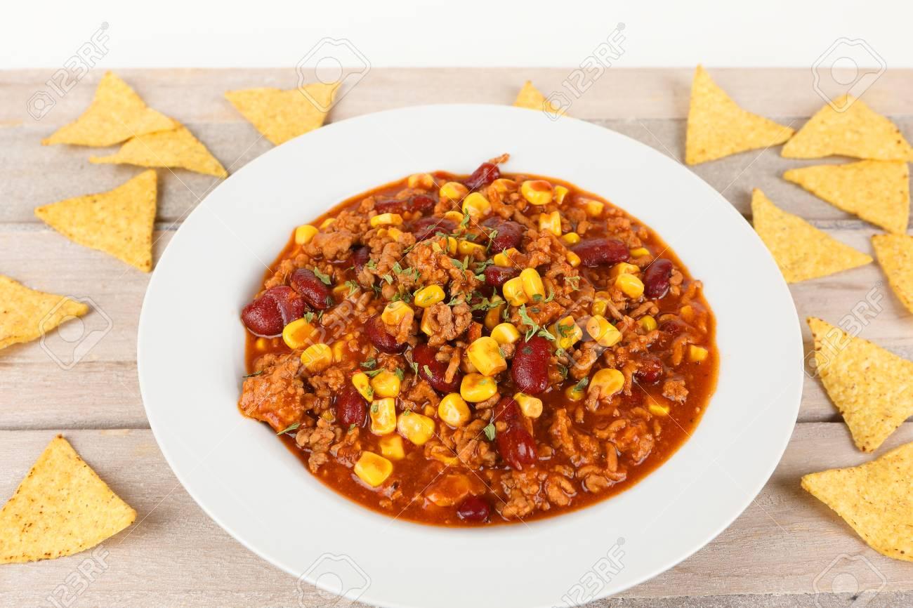Chili Con Carne Mit Kidneybohnen Und Mais Lizenzfreie Fotos Bilder