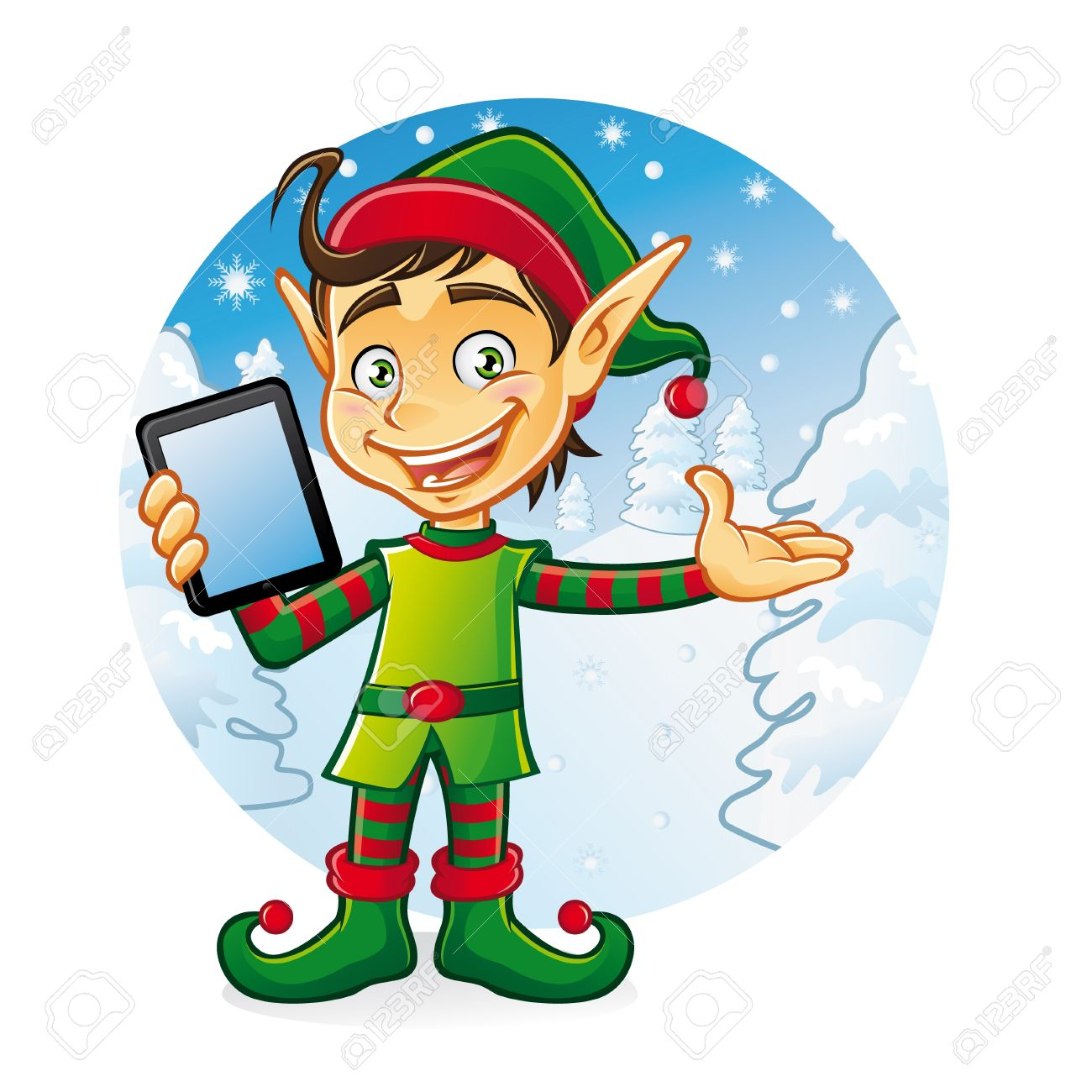 Cartoon young elf is holding ipad with a friendly smile as if to welcome us with a background of snow and pine trees in winter Stock Vector - 16974275