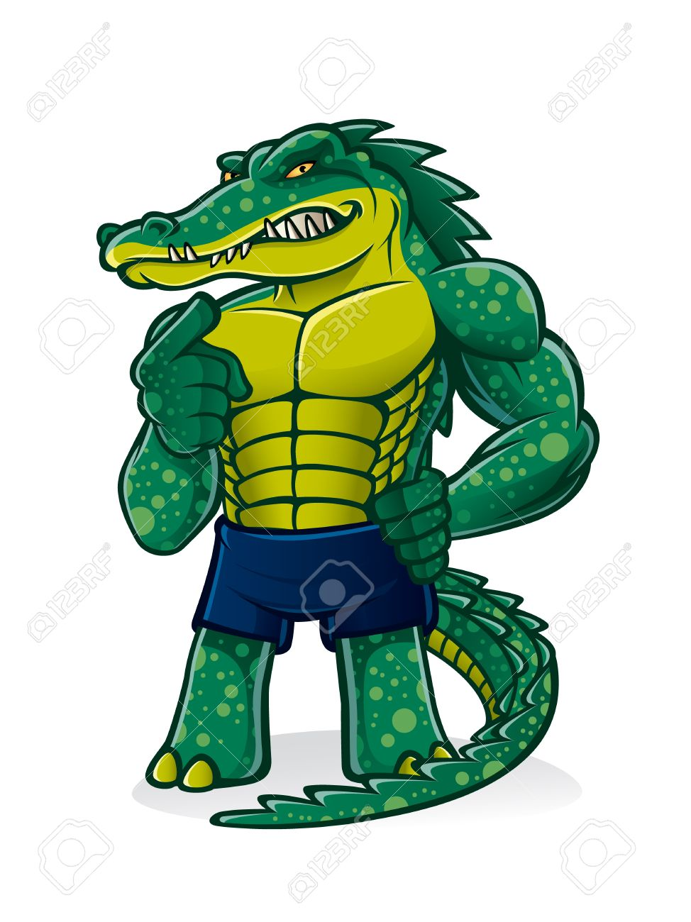 cartoon alligator that pugnacious, strong and muscular is challenging and pointed toward the audience invited to join him Stock Vector - 16974274