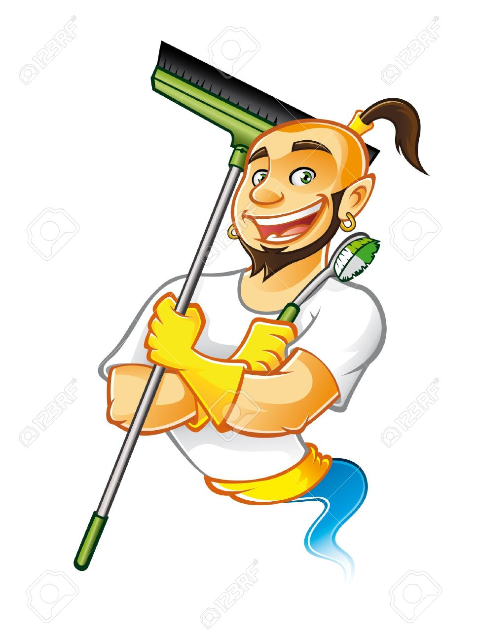 genie male were carrying brooms and brushes to clean something with arms crossed and a big smile happy Stock Vector - 16974269