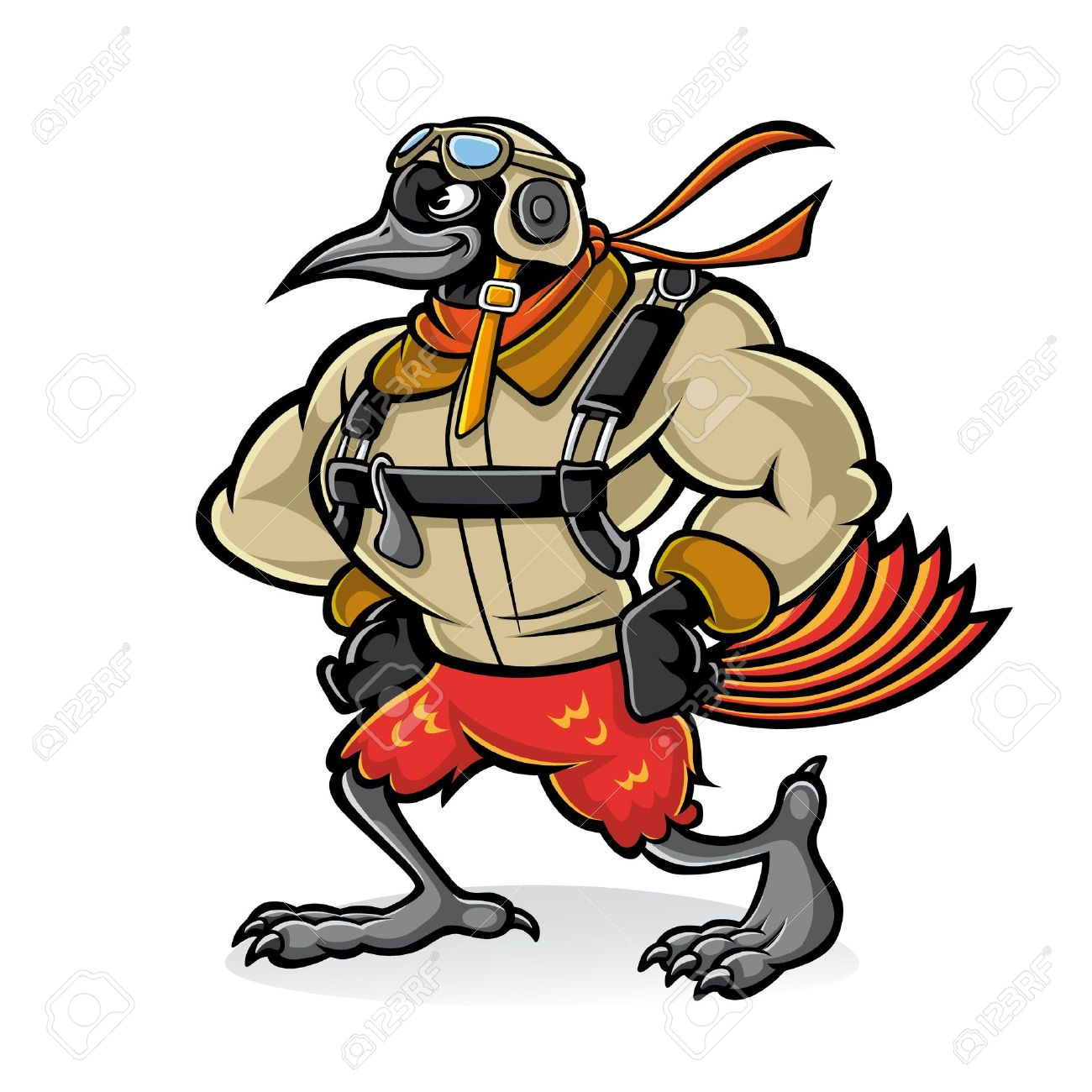 Cartoon oriole bird gallant aviator who was hands on her hips with confidence and wear uniforms and sunglasses aviator Stock Vector - 17953993
