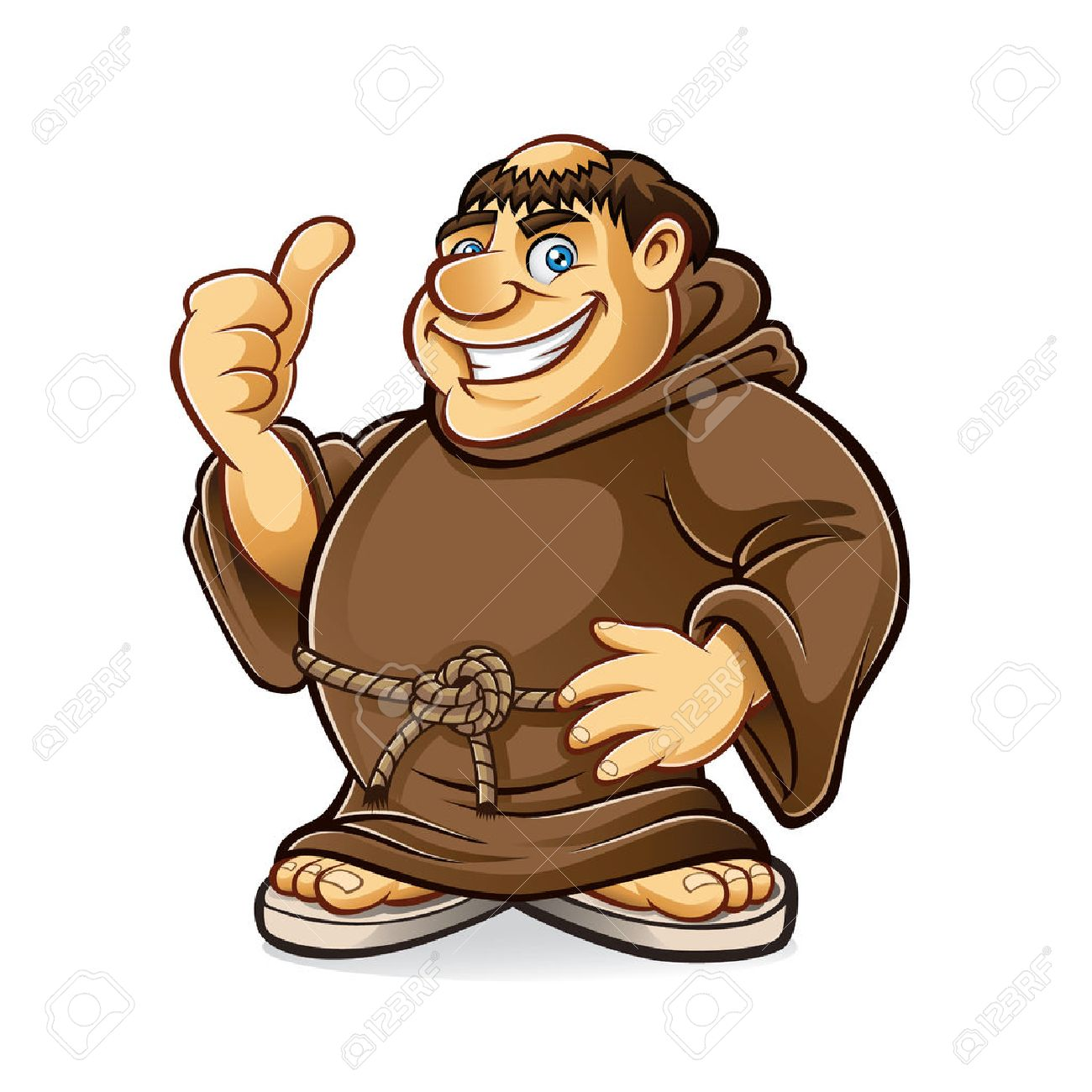 fat monk smiling and thumbs-up Standard-Bild - 28069743