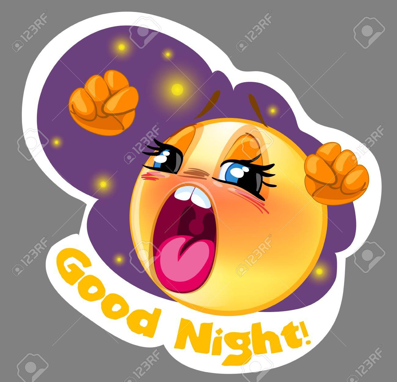 Vector sleepy smiley sticker with night background for messenger