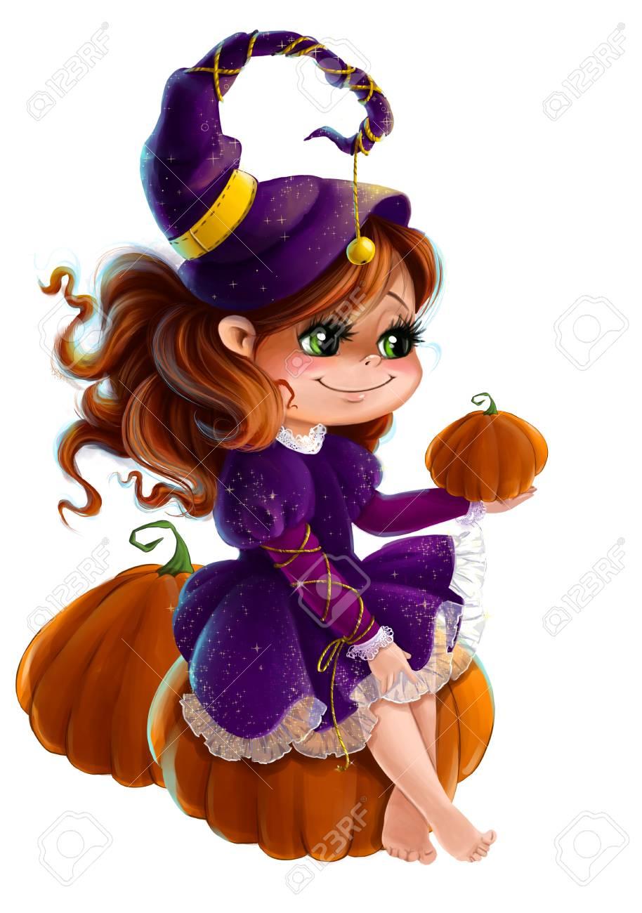 ハロウィンでかわいい女の子魔女カボチャ クリップ アート漫画スタイル