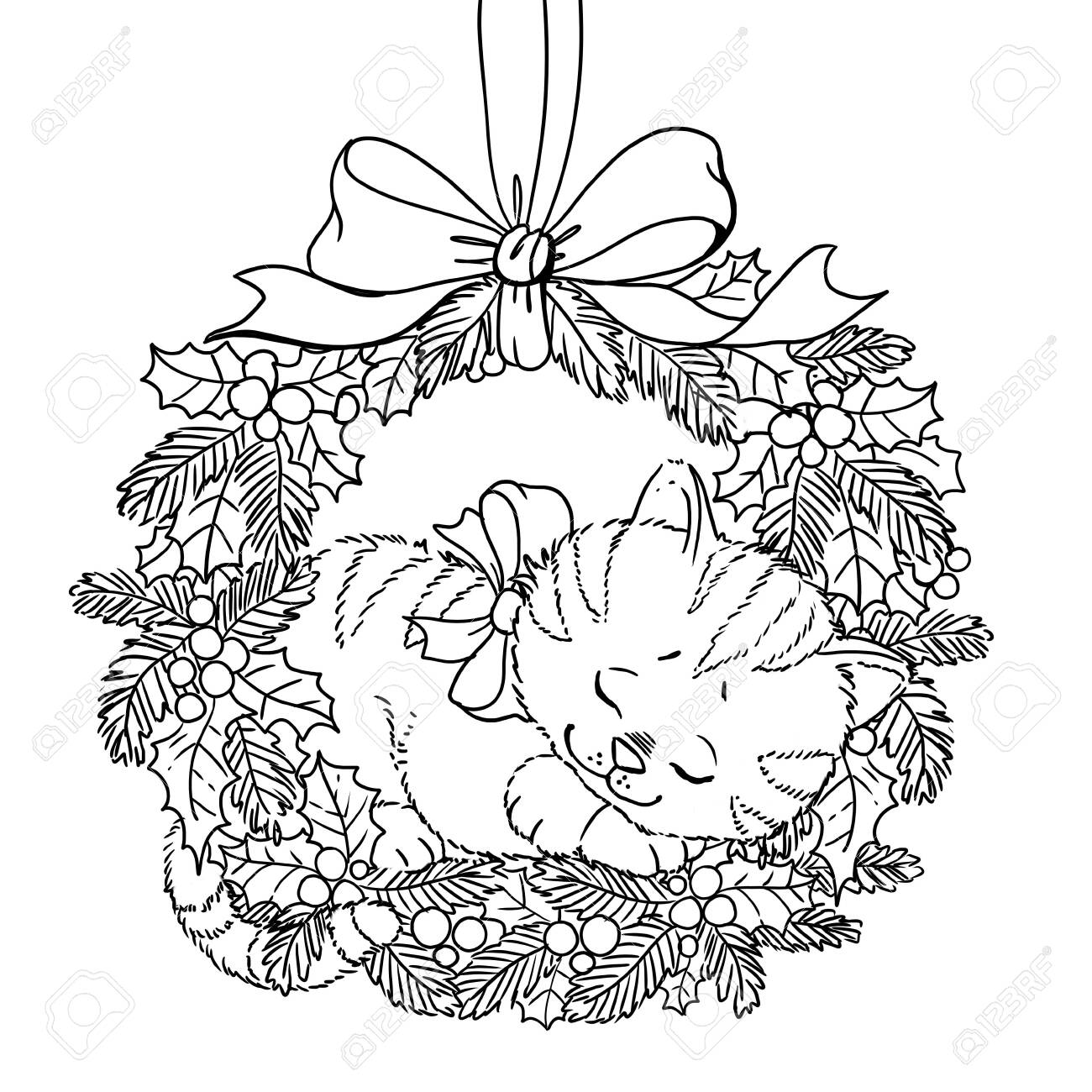 - Christmas Wreath. Coloring Page. Doodle Pattern With Cute Sleeping