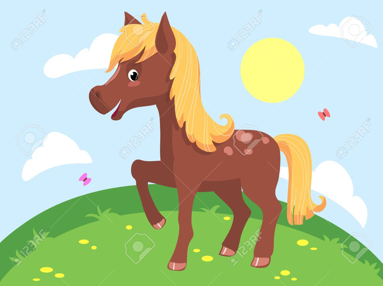 Illustration Of A Cute Funny Horse Vector Clipart Royalty Free Cliparts Vectors And Stock Illustration Image 131357850