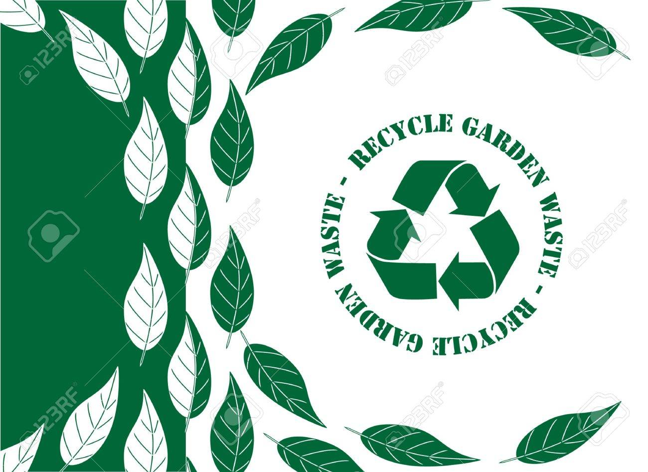 Recycle garden waste concerpt. Simple green and white leaf design with recycle symbol EPS10 vector format. Stock Vector - 10262890