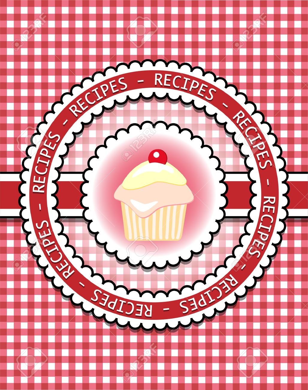 How to scrapbook a recipe book - Gingham Recipe Book Cover With Cupcake Scrapbook Style Stock Vector 10271999