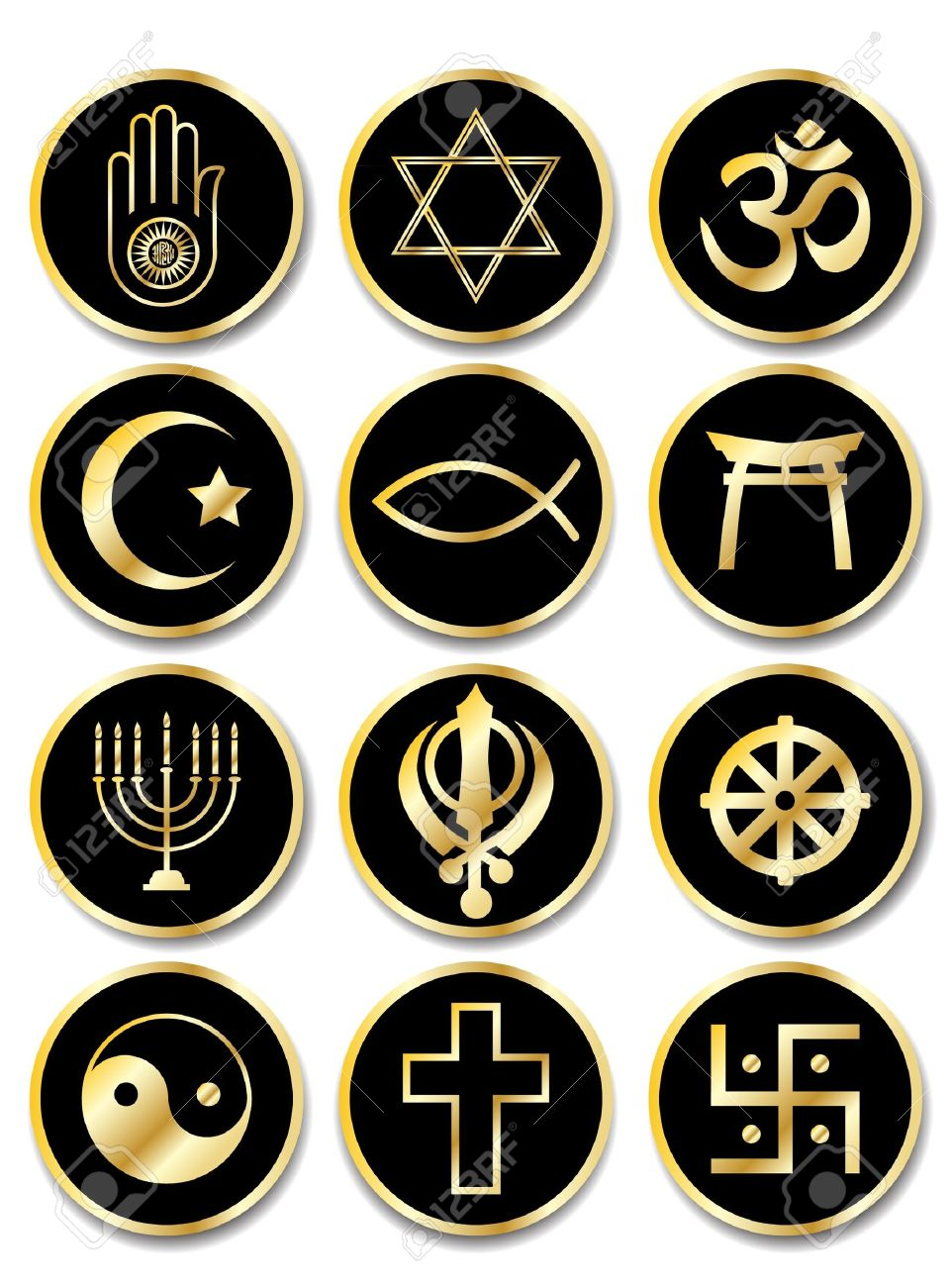 A set of stickers - Religious symbols. Gold isolated on black. EPS10 vector format. Stock Vector - 10308785