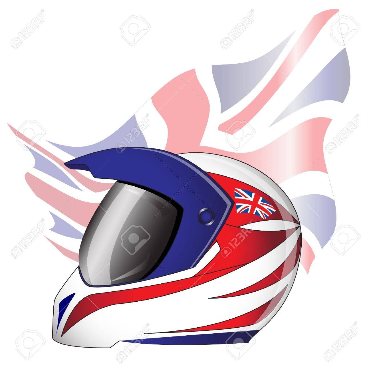 Motorcycle helmet with red, white and blue Union Jack theme British  flag. EPS10 vector format. Stock Vector - 10311402