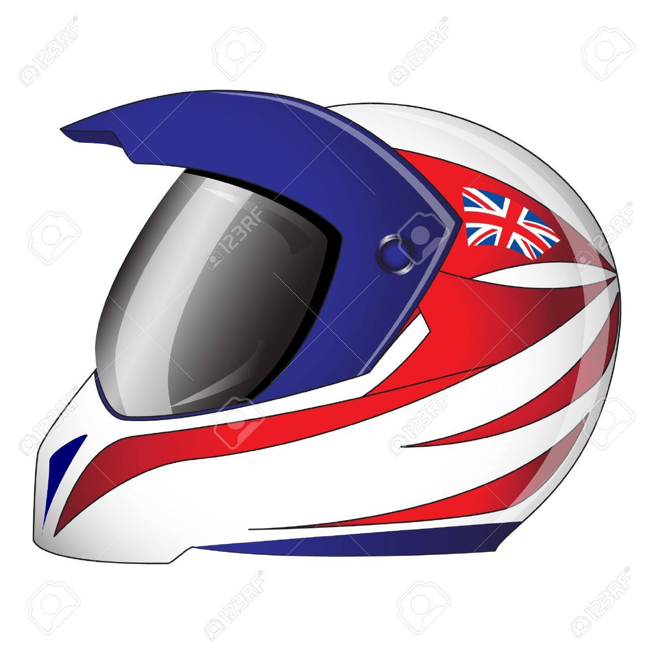 Motorcycle helmet with red, white and blue Union Jack theme British  flag. EPS10 vector format. Stock Vector - 10311404