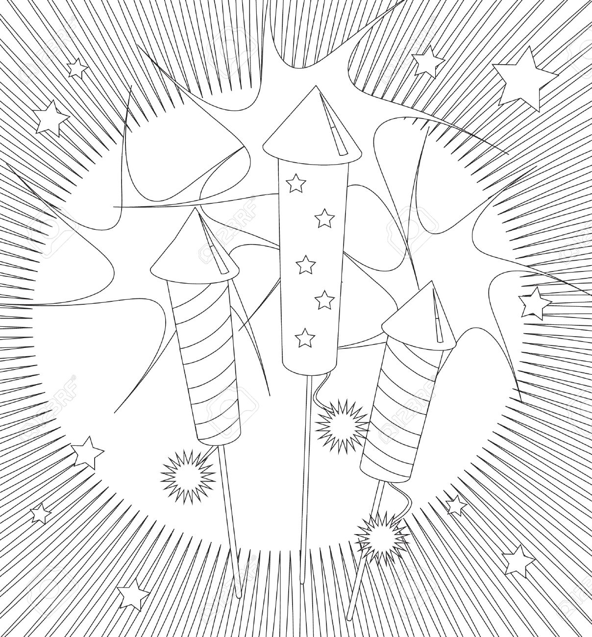 Fireworks Colouring Page. Activity Sheet For Children Suitable ...