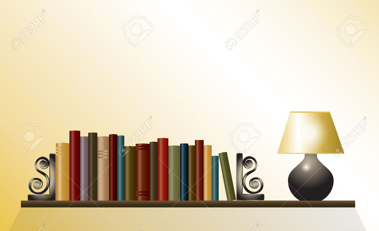 A Bookshelf Of Books Between Bookends With Table Lamp Space For Your Text EPS10