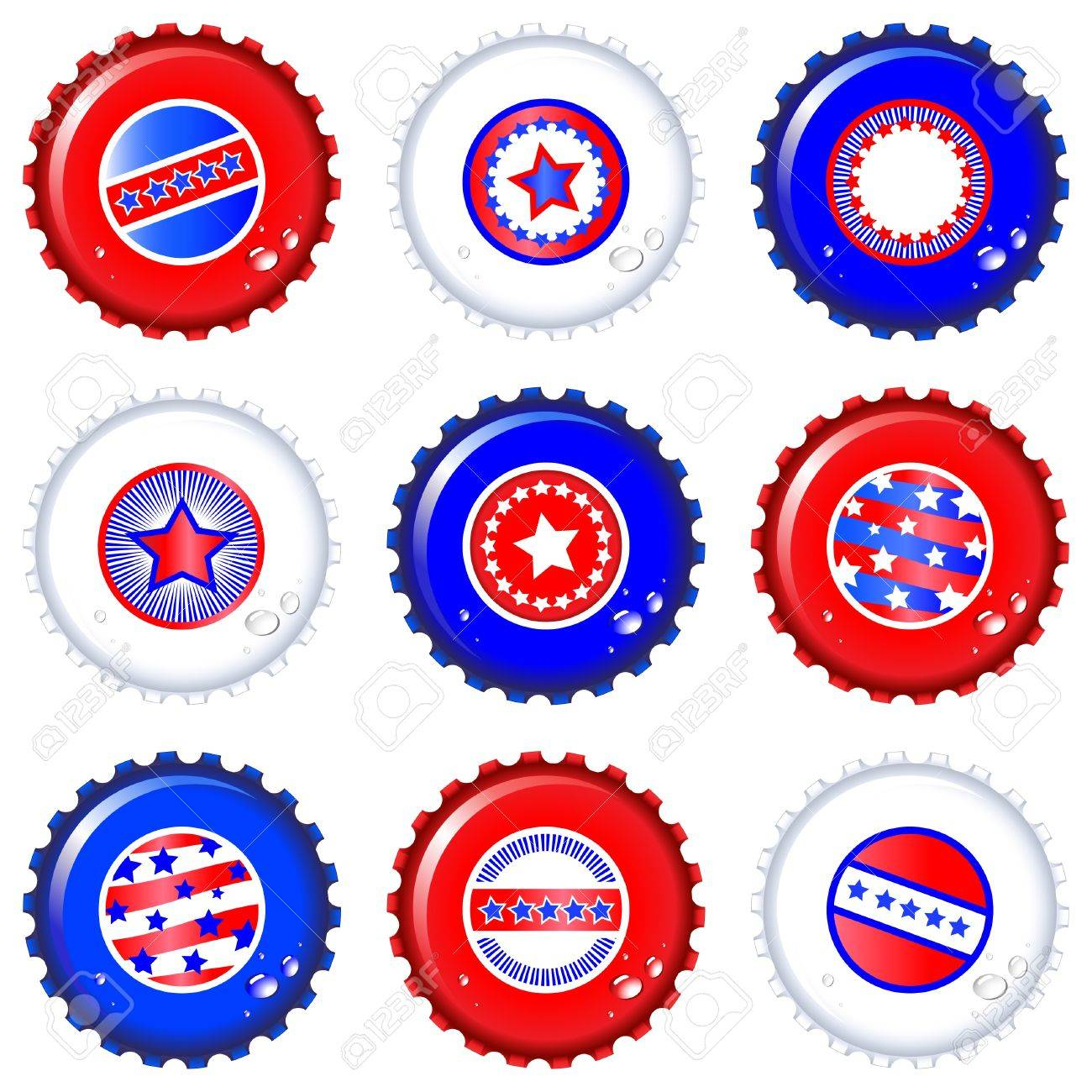 Stars & Stripes bottle caps. USA Fourth of July emblems. Water drops are on separate layer for easy editing. EPS10 vector format. Stock Vector - 10318403