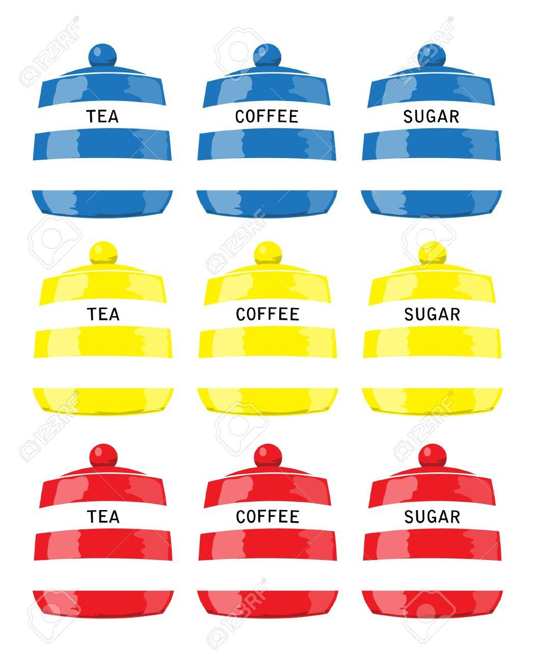 kitchen storage jars for tea coffee and sugar in primary colours kitchen storage jars for tea coffee and sugar in primary colours stock vector