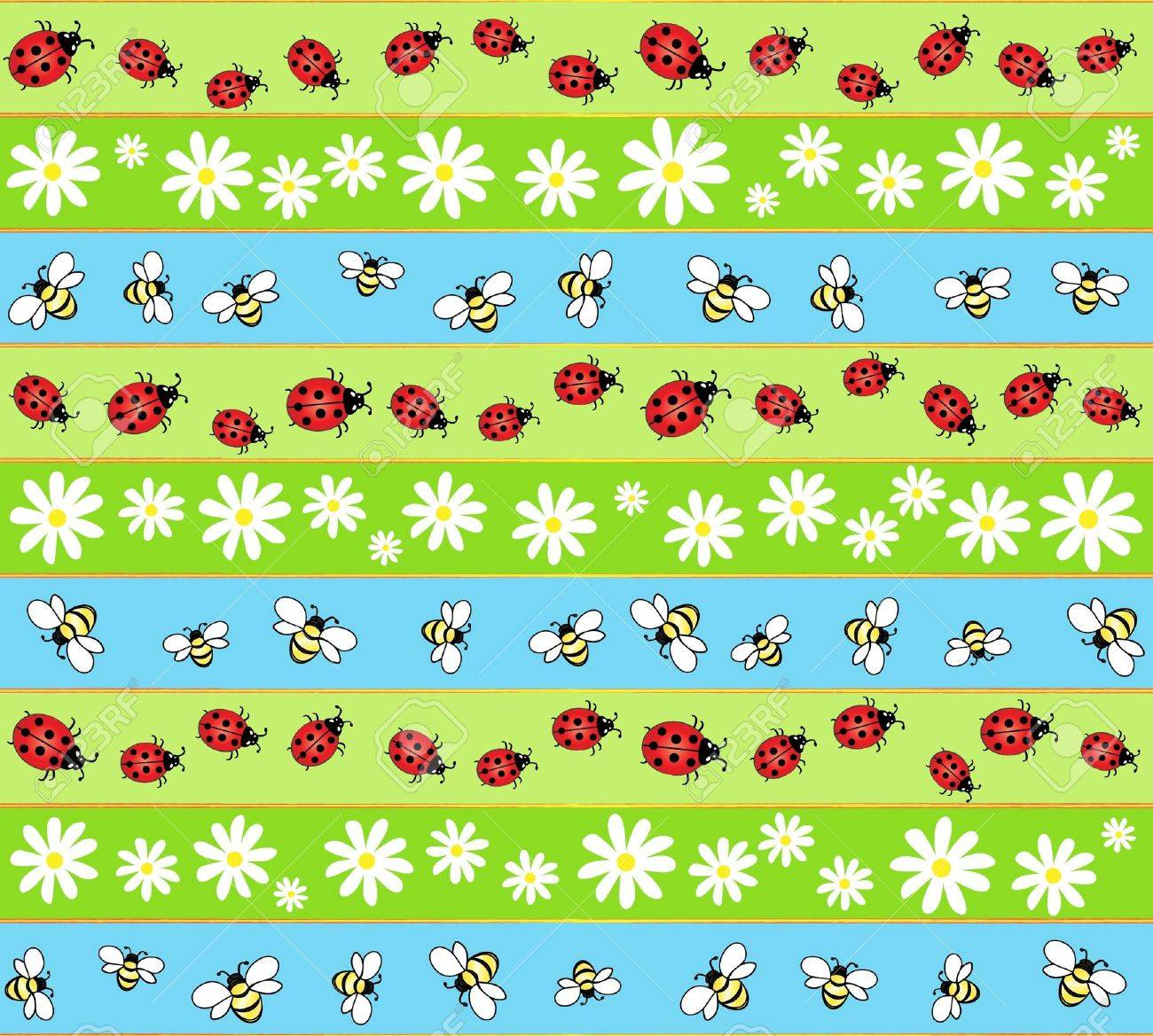 A seamless background of bees, ladybirds and daisies. Stock Vector - 10333563