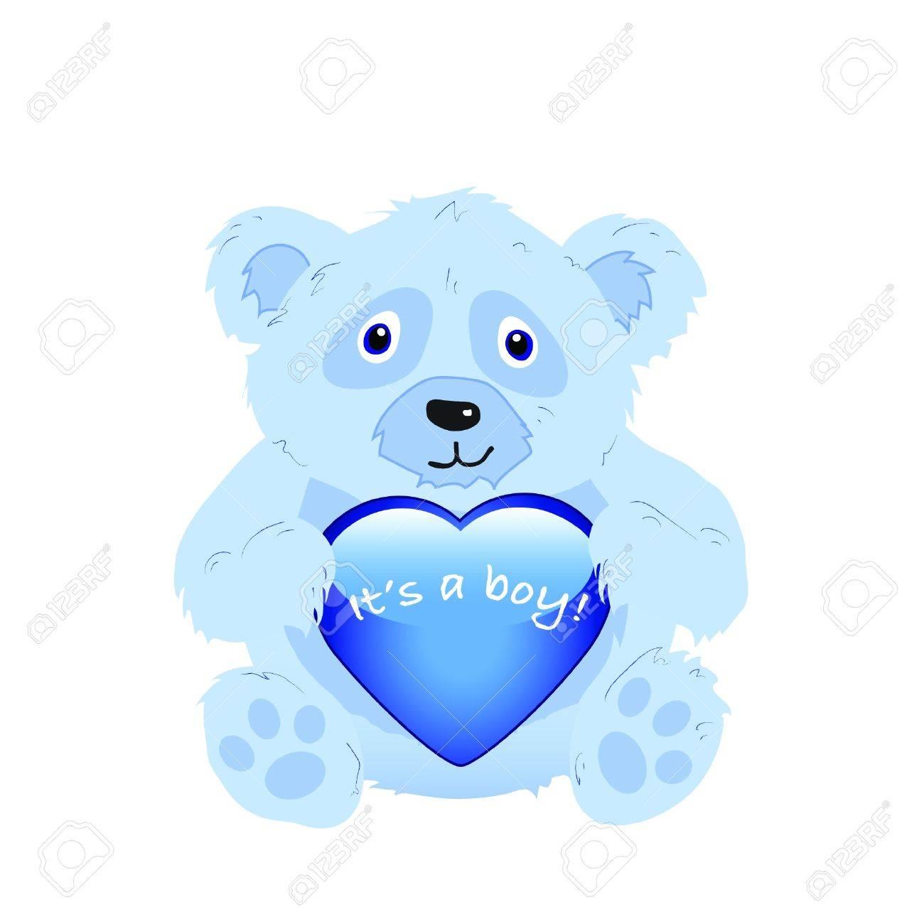 It's a boy! A cute cartoon bear holding a glossy heart isolated on white. EPS10 vector format Stock Vector - 10481449
