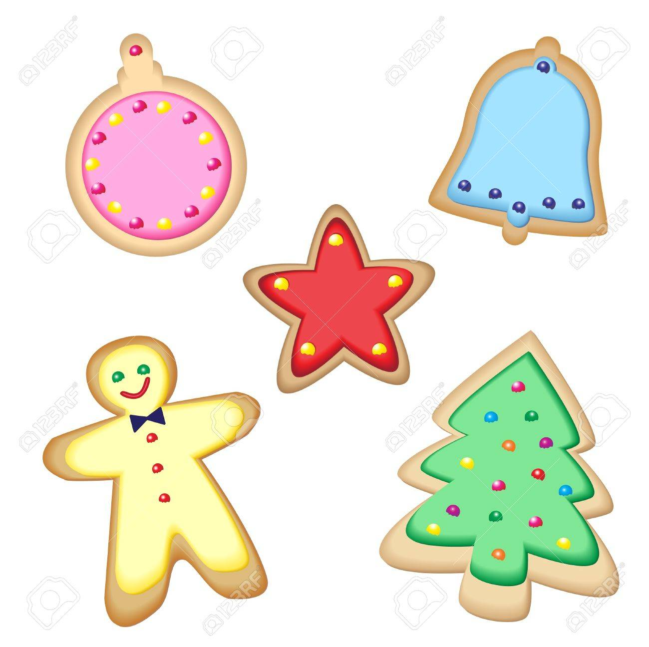 Iced Christmas Cookies Isolated On White. EPS10 Vector Format ...