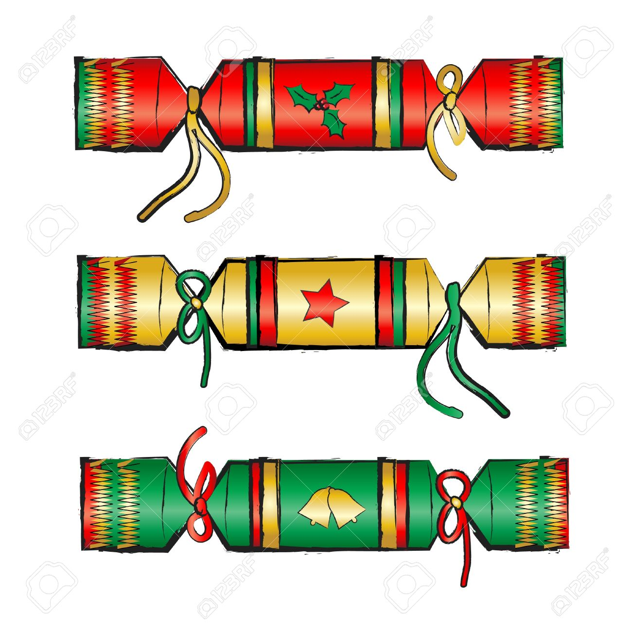 Christmas Crackers Cartoon.Christmas Crackers Isolated On White Sketch Style Eps10 Vector