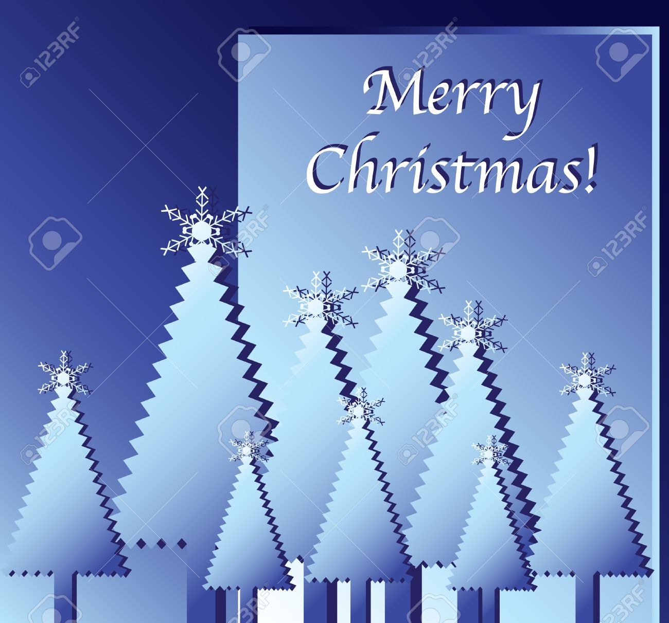 Merry Christmas wishes. Paper cut-out Christmas trees against blue. EPS10 vector format. Stock Vector - 10481437