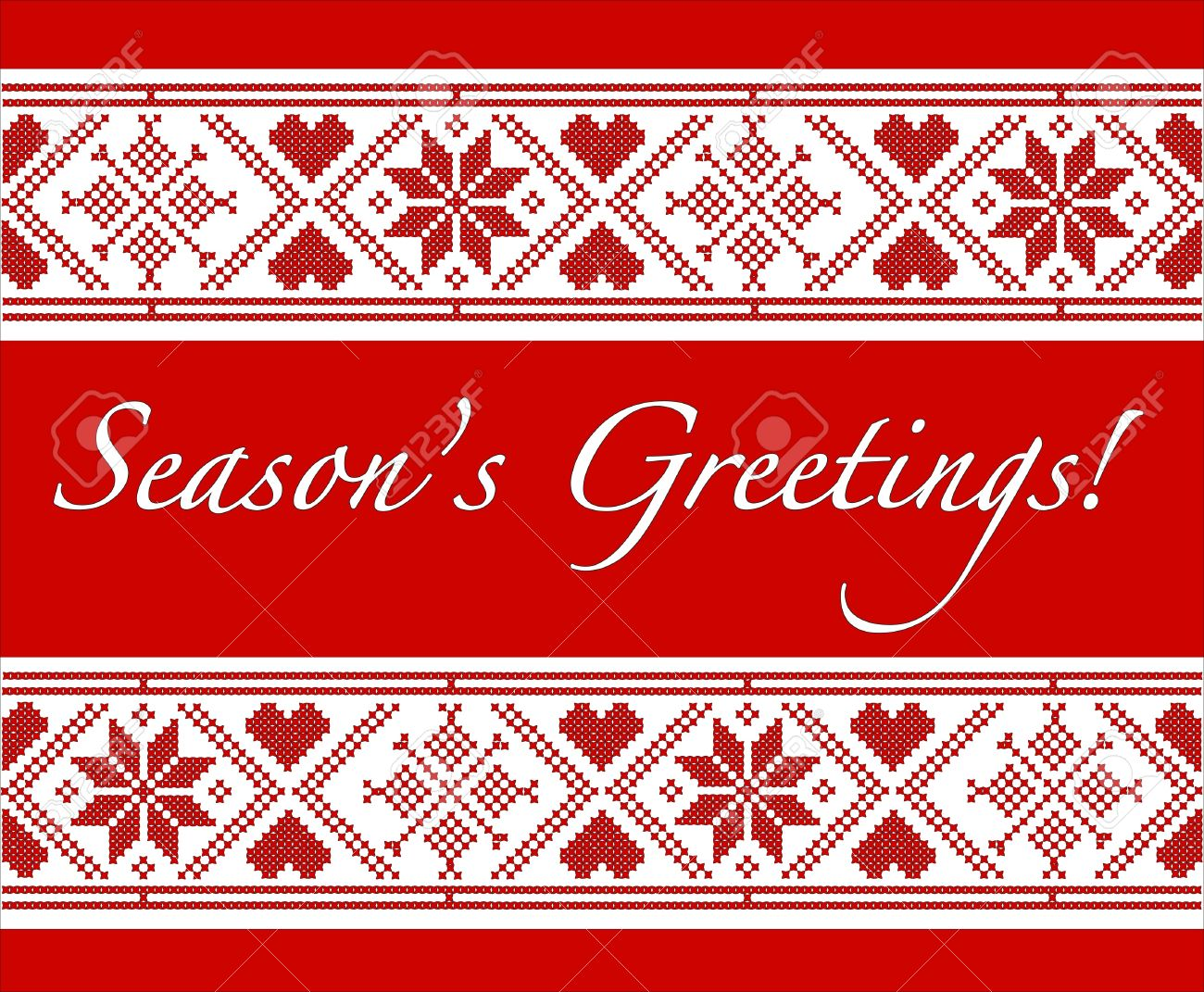 Seasons greetings christmas card with scandinavian style cross seasons greetings christmas card with scandinavian style cross stitch eps10 vector format fully editable for insersion of your own text m4hsunfo Image collections